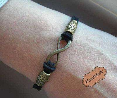 Bracciale pelle AMORE INFINITO Design braccialetto infinity ciondolo donna Artigianale