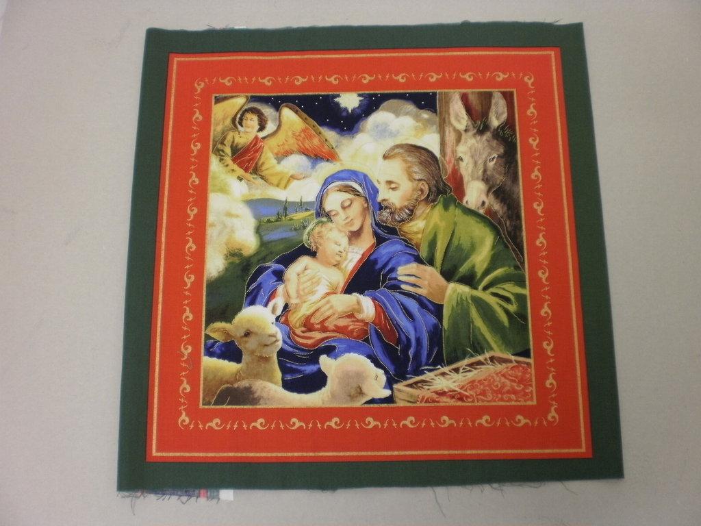 Tessuto con soggetti natalizi per quadri, cuscini