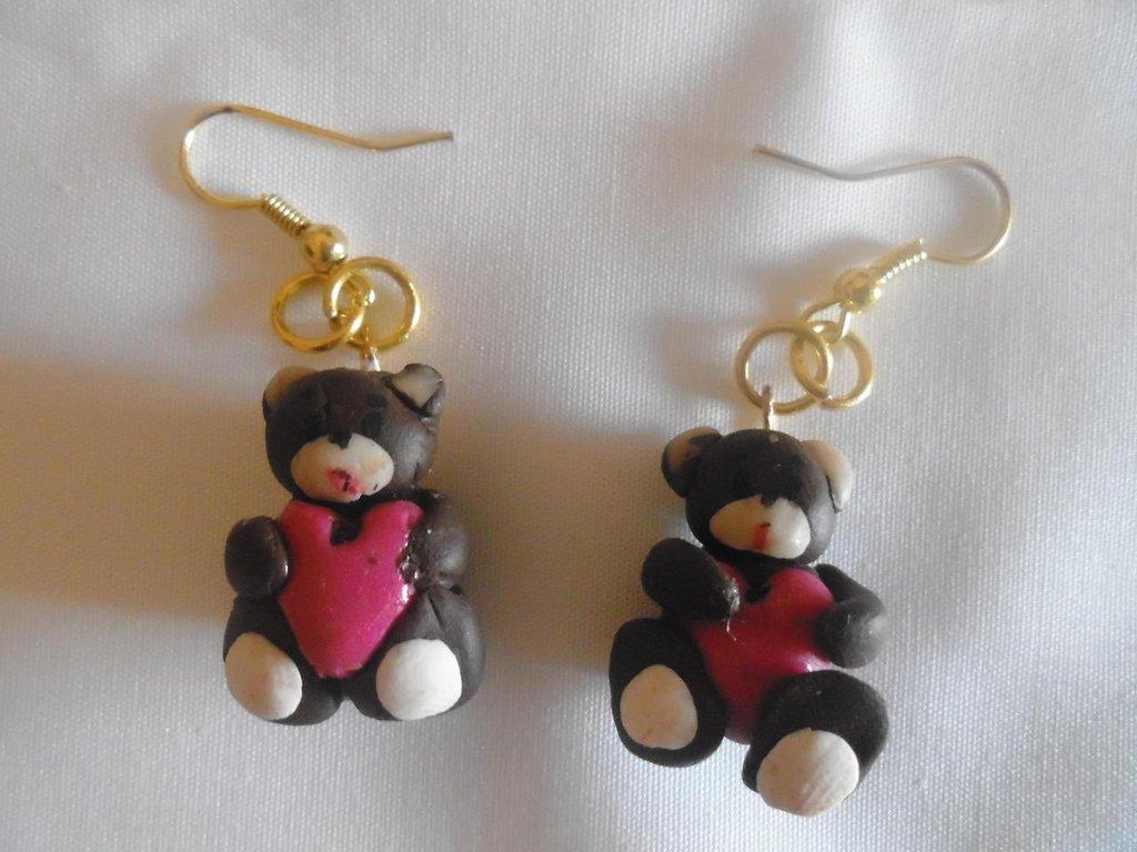 orecchini orso cuore