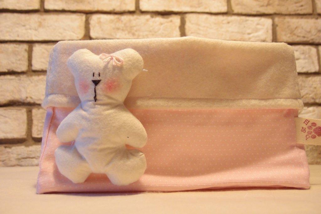 Basket porta oggetti feltro e stoffa decoro orsetto femminuccia