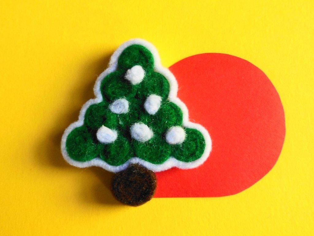 Set di 6 segnaposto natalizi in feltro 'albero di natale'
