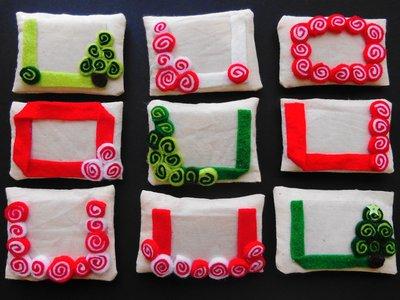 Set di 3 cornici in tessuto: la decorazione per l'albero di natale