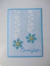 Biglietto Natale azzurro fiocchi di neve con timbro Buone feste