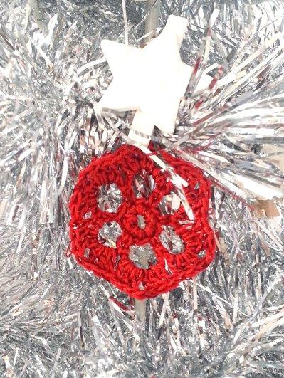 """Decorazione natalizia fiocco di neve """"Ghiaccio"""" (art. 7_rosso)"""
