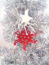 """Decorazione natalizia fiocco di neve """"Cristallo Stellare"""" (art. 8_rosso)"""