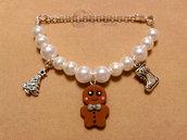 Braccialetto con perle e gingerbread fimo