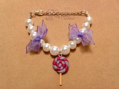 Braccialetto con perle e lecca-lecca fimo