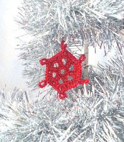 """Decorazione natalizia fiocco di neve """"Neve di Primavera"""" (art. 9_rosso)"""