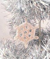 """Decorazione natalizia fiocco di neve """"Neve di Primavera"""" (art. 9_bianco/oro)"""