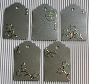 Tags Natalizie 3^^ - Etichette chiudipacco Argento&Glitter - lotto (5pz)