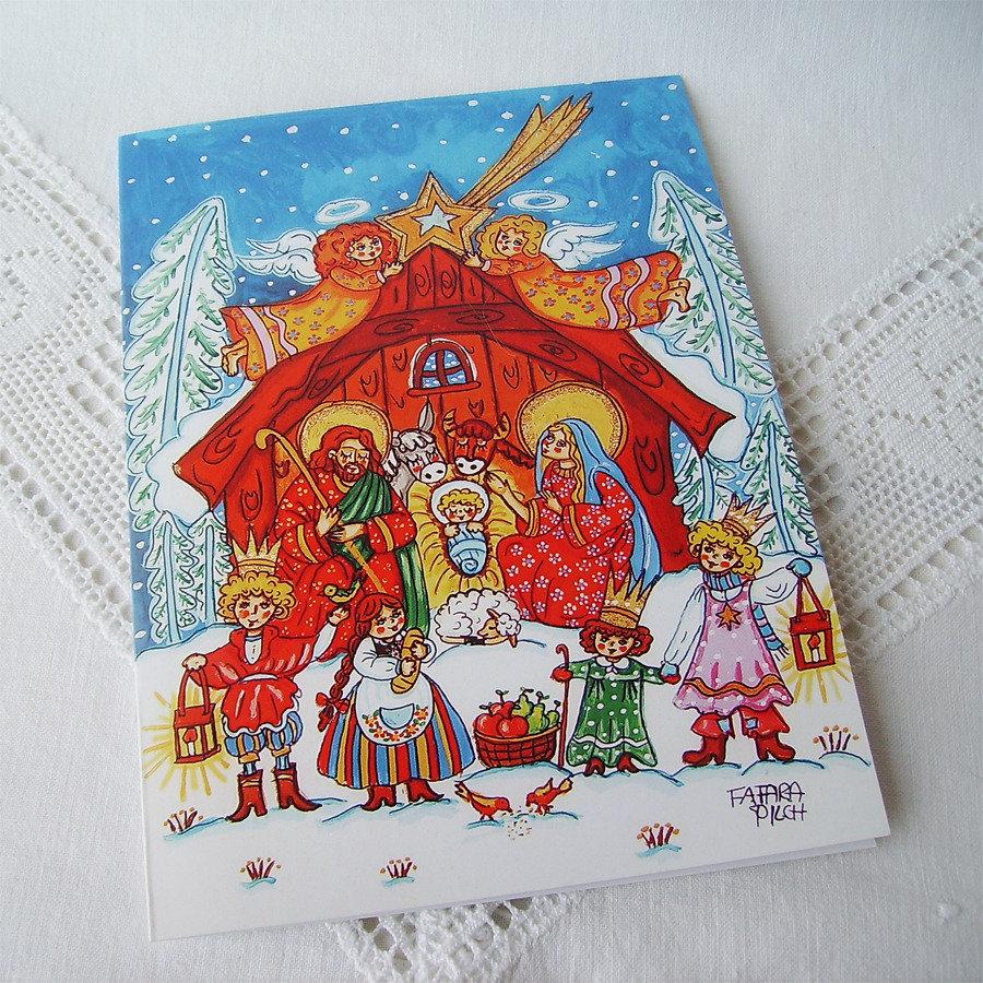Presepe Natività biglietto di auguri festivo