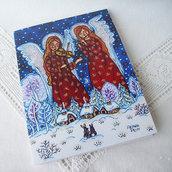 La musica Inverno natalizio cartolina biglietto