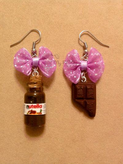 Orecchini pendenti con Nutella e cioccolata fimo