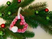 Decorazione natalizia 'cuore in feltro con rosellina'