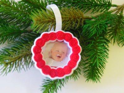 Decorazione natalizia 'Albero di famiglia' bianca e rossa