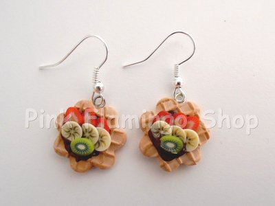 Waffle frutta e cioccolato - orecchini in Fimo