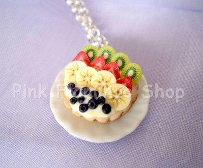 Crostata alla frutta - collana in Fimo 2 - realizzata a mano in pasta polimerica - kawaii