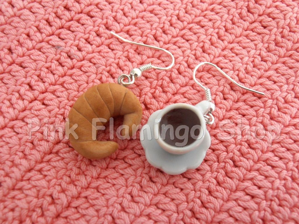 Orecchini cornetto e caffé in Fimo