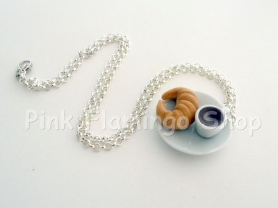 Collana cornetto e caffè in Fimo