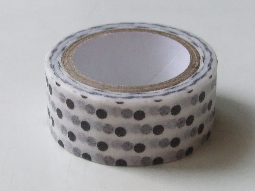 1 washi tape pois bianco e nero 5 metri vend.