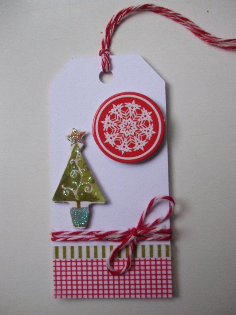 Tag Natale auguri alberello + fiocco di neve