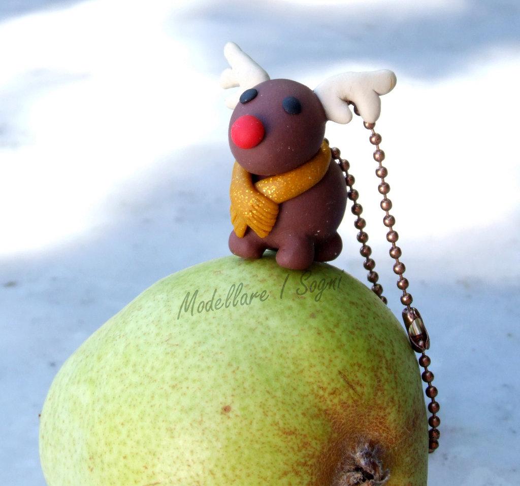 Portachiavi Renna di Natale - Rudolf Naso Rosso con Sciarpa Oro - Perfetto Regalo per Natale e Feste Invernali