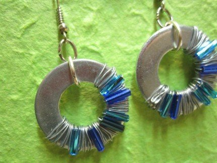 blue and light blue Washer Earrings