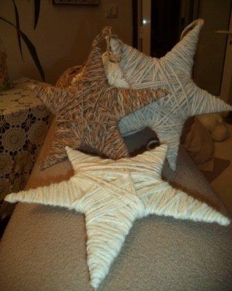 Stelle di lana per l'albero di natale o per decorare casa
