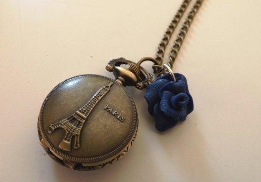 Collana ciondolo orologio parigi tour eiffel vintage