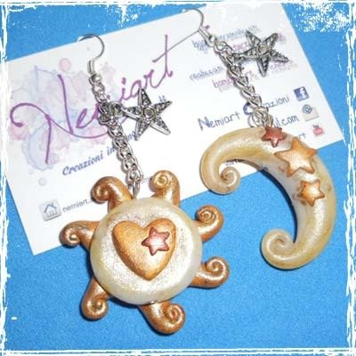 Orecchini pendenti Sole e Luna, Stars, in fimo, con monachella,handmade.