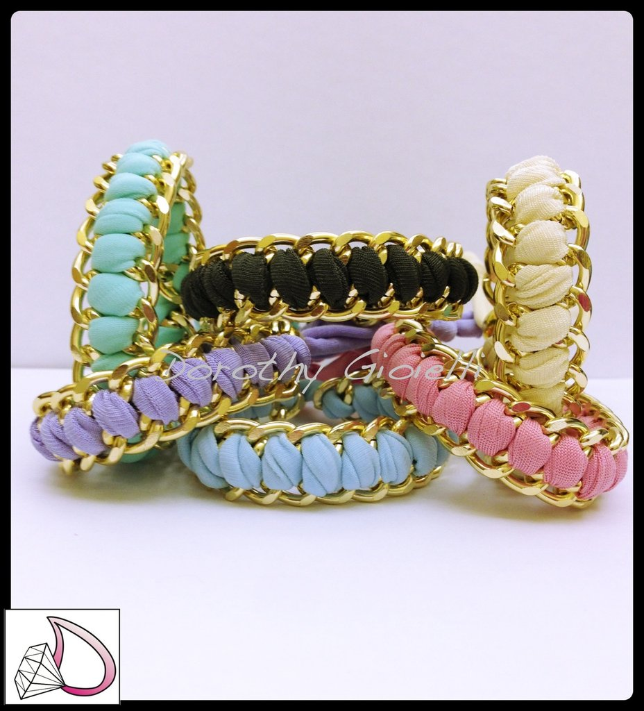 Bracciale catena e fettuccia lycra colorata