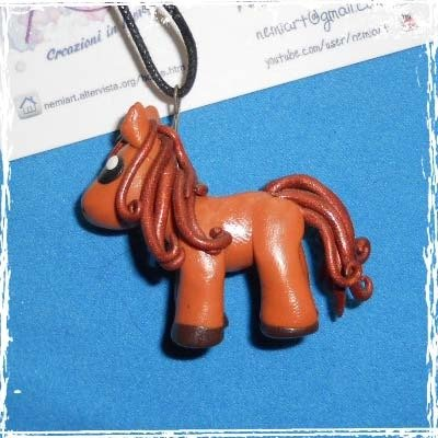 Collana Nemipony con cordino cerato, handmade in fimo, brown.
