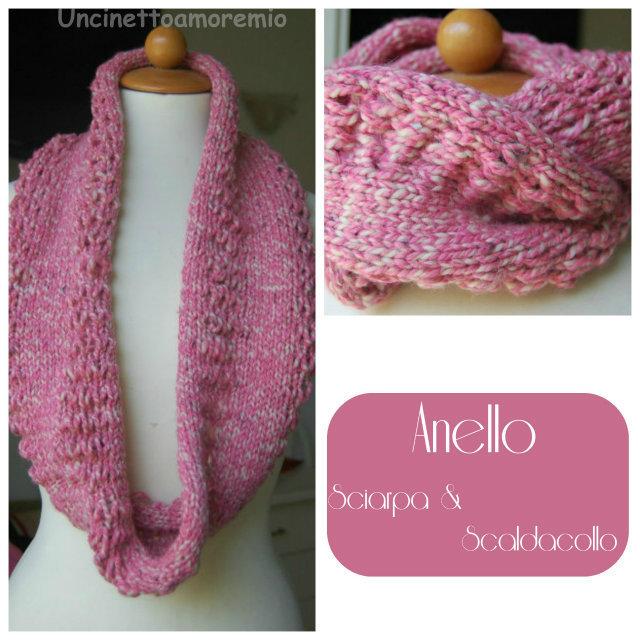 Scaldacollo ad anello sfumato in rosa a maglia