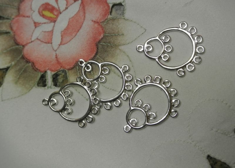 Lotto di basi per orecchini a goccia color argento