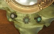 Anello in bronzo stile vintage con pietra semi preziosa - Gaia