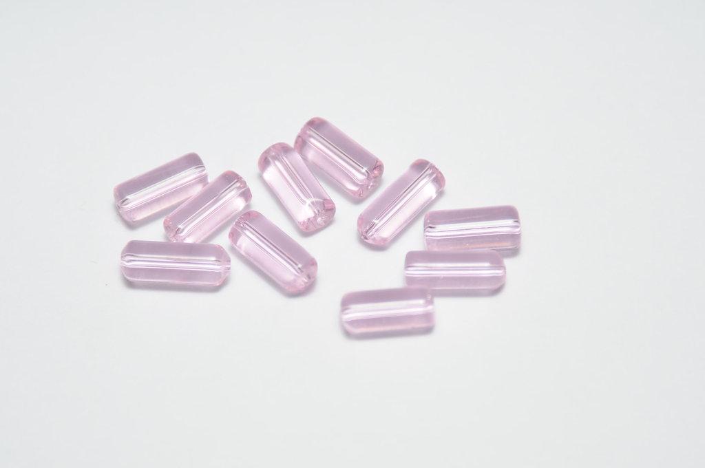 perle di vetro rosa e viola a baguette