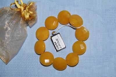 Bracciale artigianale fatto a mano giada giallo limone - idea regalo