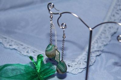 Orecchini artigianali fatti a mano agata verde striata - idea regalo