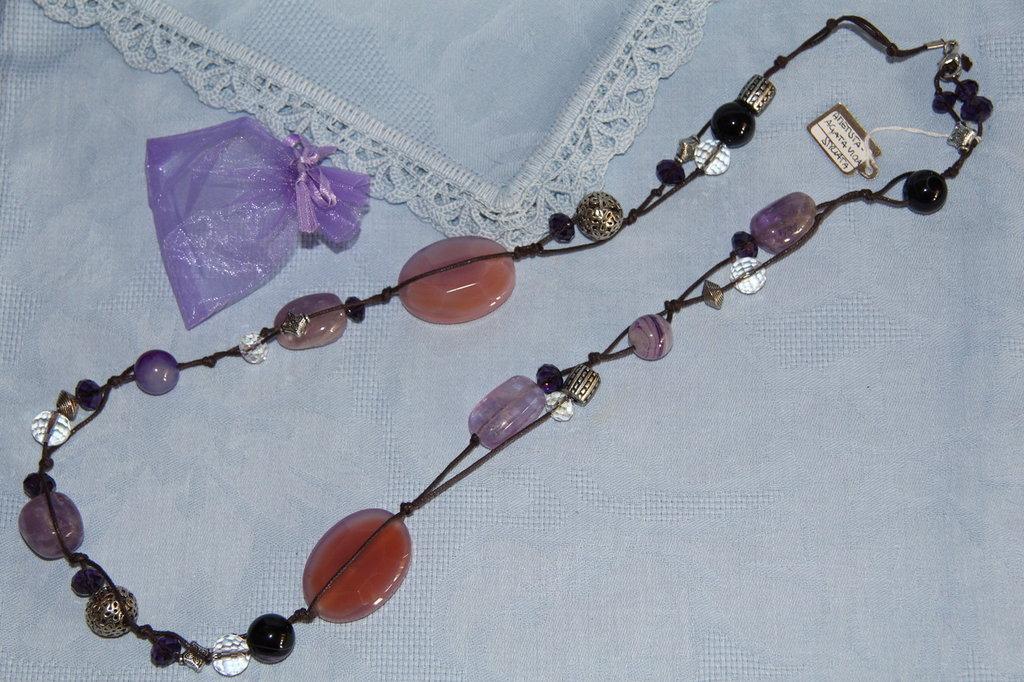 Collana artigianale fatta a mano agata viola e ametista - idea regalo