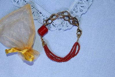Bracciale artigianale fatto a mano corallo rosso e corallo bamboo - Idea regalo