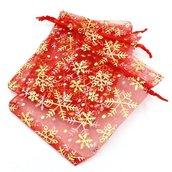 Sacchetti in Organzaa rosso Natale con neve dorato 16x12cm