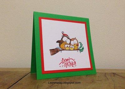 """Biglietto auguri Natale """"Una famiglia di gufetti"""" - fatto a mano"""