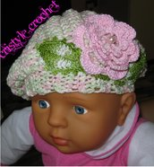 Uncinetto Cappello berretto alla principessa ( per neonata)Hand made Crochet  Hat berretto for princess ( for baby)