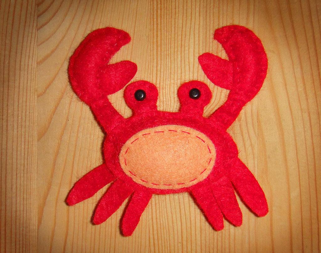 GRANCHIO Pupazzo in feltro decorazione di Natale e marionetta per le dita