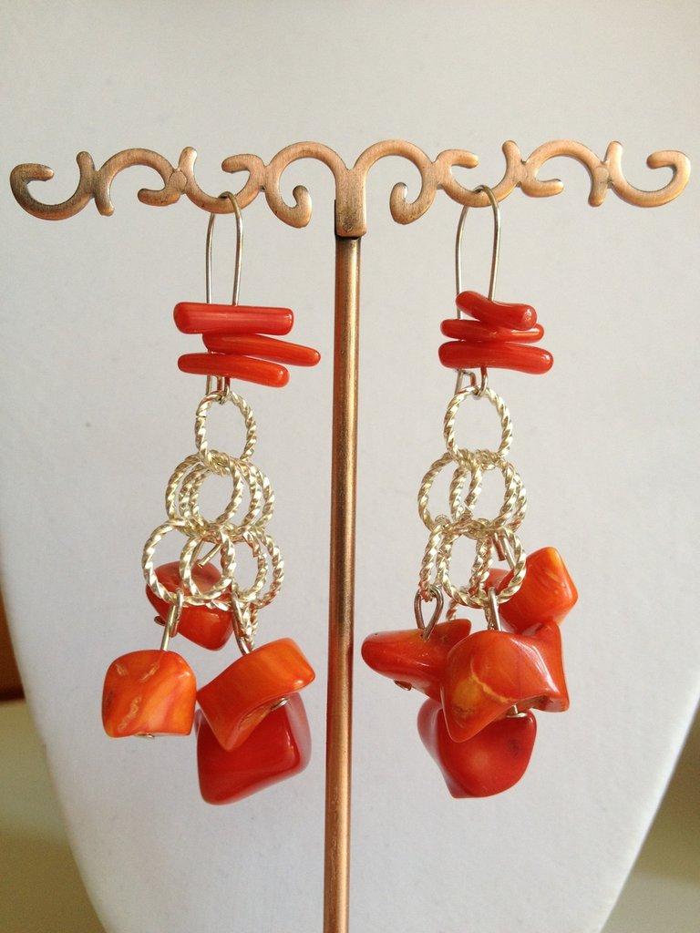 Orecchini corallo bamboo rosso/arancio
