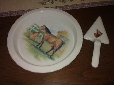 piatto per torta monodose in ceramica decorazione decalcomanie