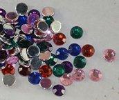 20 cabochon tondi strass in acrilico 8 mm colori mix casuali 20 pezzi