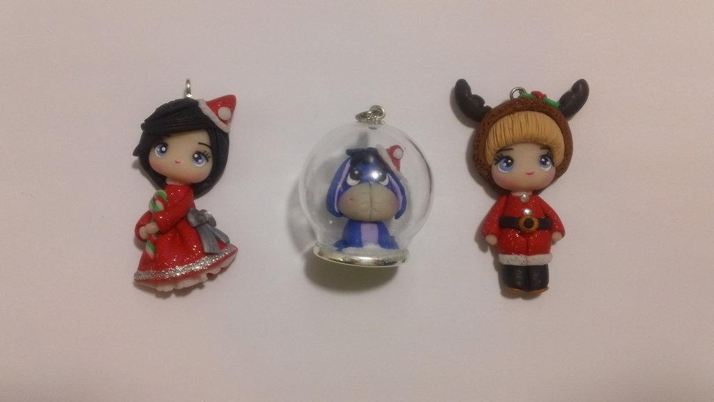 3 ciondoli natalizi in fimo