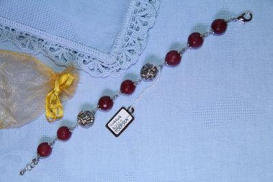 Bracciale artigianale fatto a mano giada rosso porpora - idea regalo
