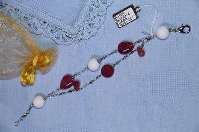 Bracciale artigianale fatto a mano agata bianca e giada rosso rubino - Idea regalo